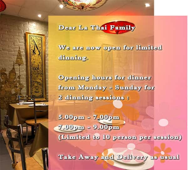 LaThai Open for Dine In